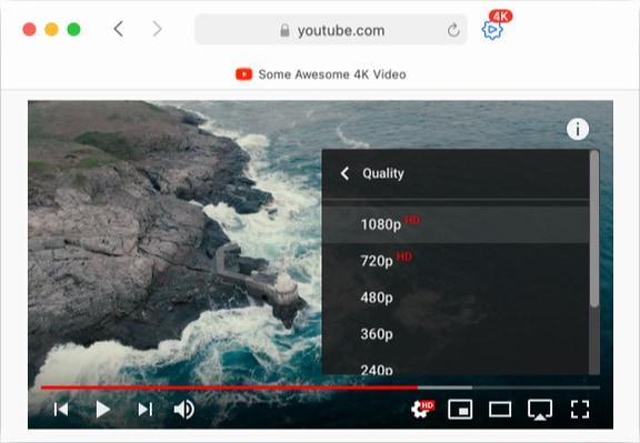 4Ktube extension for Safari on Mac